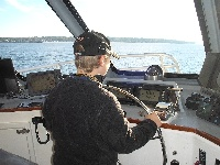 My son at the helm